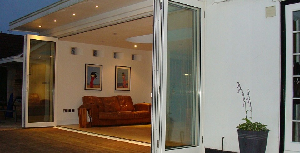 Slimline bi folding doors, open