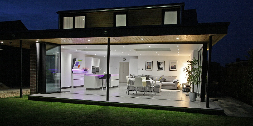 Bi Folding Doors, Aluminium Slide & Turn, Frameless Gl on