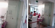 Frameless glass office partition doors