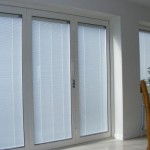 Bi folding patio doors, window, with integral blinds
