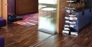 single glazed frameless glass office partition doors