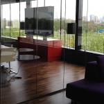 single glazed retractable glass doors for office / meeting room