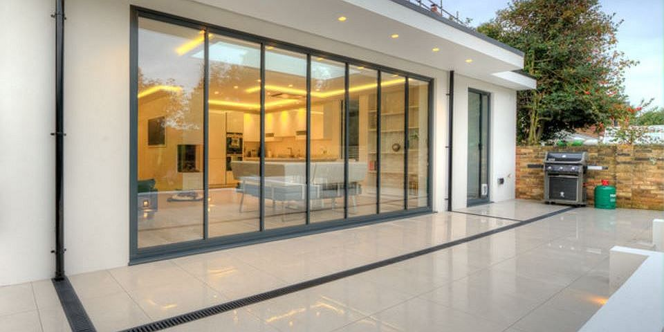 bi folding doors ultraslim aluminium frameless glass doors