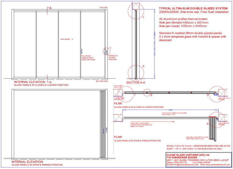 Technical information sunseeker doors for Sliding glass doors drawing