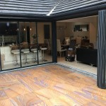 expanse of fully retractable patio doors